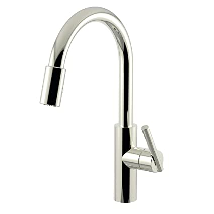 Newport Brass 1500-5103/15 Polished Nickel East Linear Kitchen Faucet with  Metal Lever Handle and Pull-down Spray