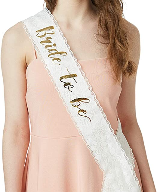 Bachelorette Party Sash Bridal Shower Hen Party Wedding Decorations Party Favors Accessories White with Gold Glitter Lettering YULIPS Bride To Be Sash