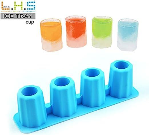 Vacally 4 tazas de hielo cubo forma de chupito caucho tiradores de ...