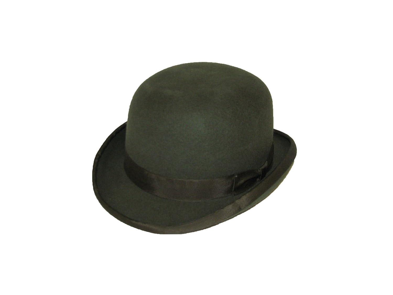La Vogue Mens Bowler Derby Hat Gentleman Wool Hat with Feather Hard Top Wool Bowler Hat