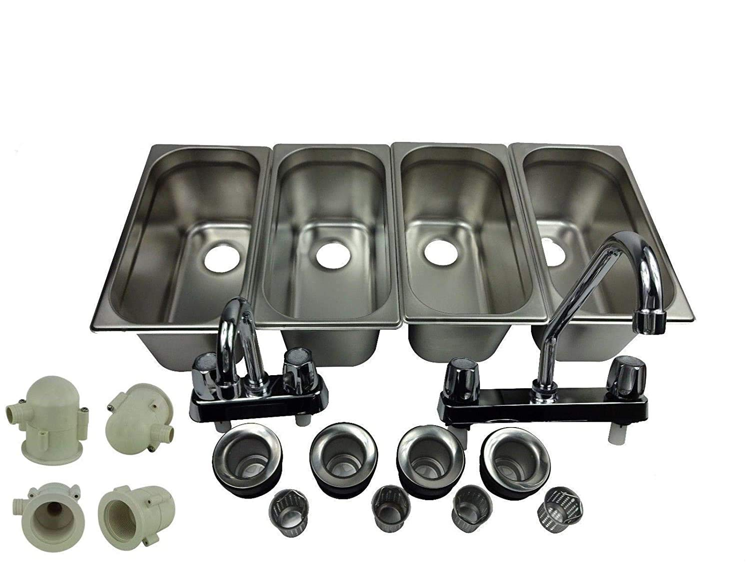 4 Compartment Concession Sink Portable 4 Traps HandWashing Food Truck Trailer