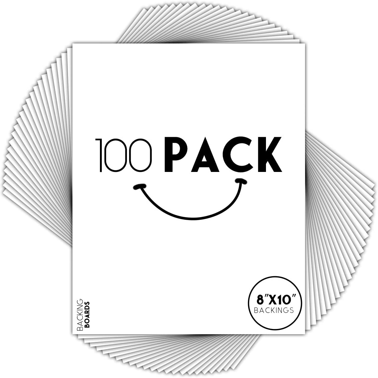 Golden State Art, Pack of 100, 8x10 White Backing Boards - Uncut, Acid Free, 4-Ply Thickness, Signature Friendly - Great for Photos, Pictures, Events, Frames, Prints