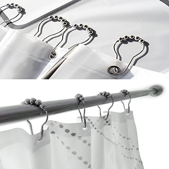 BeGrit 18 Piece Set Rustproof Shower Curtain Rings Hooks For Bathroom Rod SW8584 Christmas Gift Ideas 2018