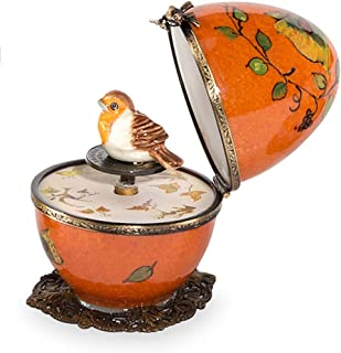 product image for Magic Cabin Butterfly and Bird Limoges Egg - Orange