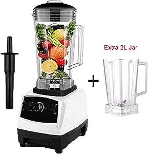 2200W Heavy Duty Commercial Blender Professional Blender Mixer Food Processor Japan Blade Juicer Ice Smoothie Machine,white extra jar,US Plug