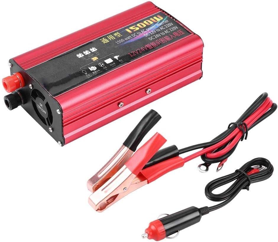 GXMZL El convertidor del Adaptador del Cargador del Coche 1500W inversor de la energía del USB de Onda sinusoidal modificada DC 12V / 24V a 220V AC