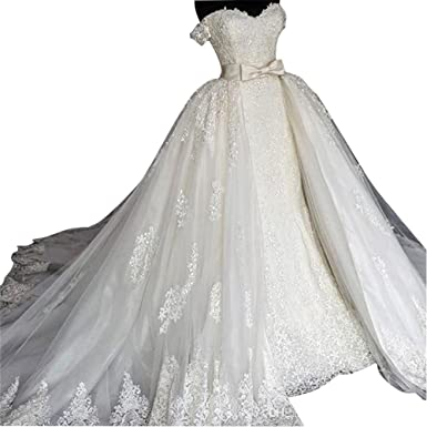 109835162b BetaaBetaa Ivory Lace Tulle Detachable Wedding Bridal Train Lace Long Tulle  Train S