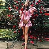 lotus.flower 2018 Women's Striped Print Cotton linen Dress Party Short Beach Mini Dress (S, Pink)
