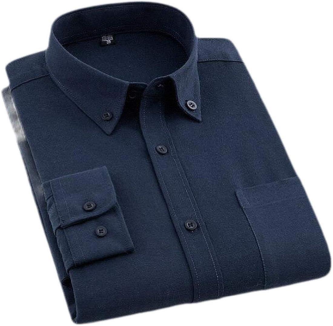 Etecredpow Mens Dress Pocket Work Solid Business Slim Fit Button Down Shirts
