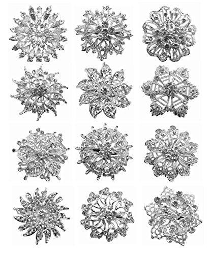 zakia-wholesale-lot-12pcs-crystal-flower-bridal-brooch-pin-brooches-gold-silver-e-set-silver-big