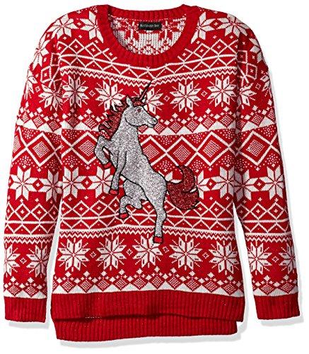 Blizzard Bay Women's Glitter Unicorn Ugly Christmas Sweater, Red/White, Medium
