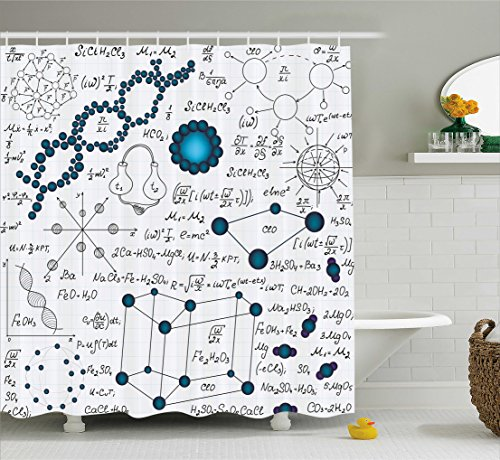 Ambesonne Abstract Shower Curtain, Science Physics DNA Molecule Formulas Atomic Chemical Analyses Display, Fabric Bathroom Decor Set with Hooks, 84 Inches Extra Long, Baby and Petrol Blue