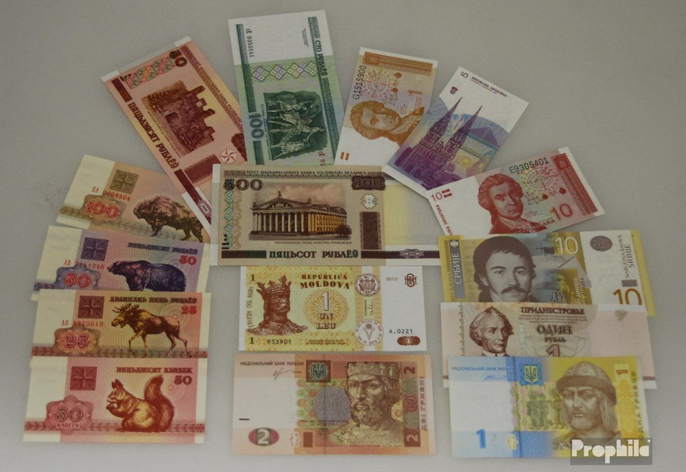 Osteuropa 15 verschiedene Banknoten Osteuropa (Banknoten para los coleccionistas) Prophila Collection