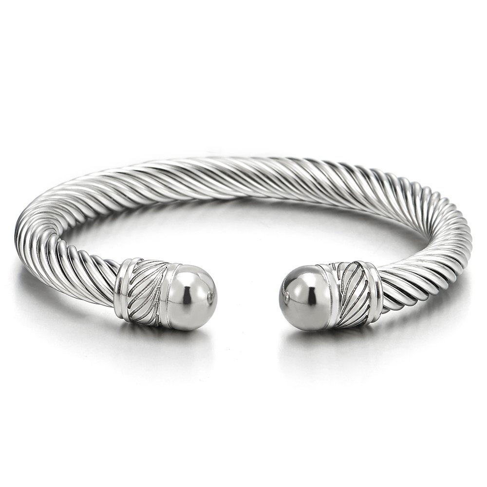 Elastic Adjustable Stainless Steel Twisted Cable Cuff Bangle Bracelet for Men Women COOLSTEELANDBEYOND MB-1468