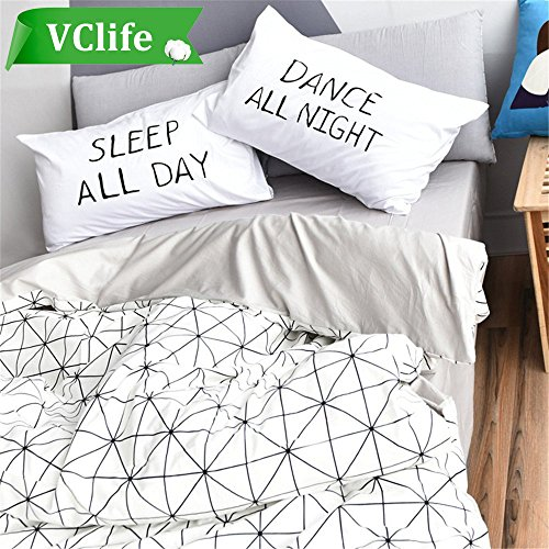 VClife Cotton Bedding Sets Twin Adults 3 PCS Duvet Cover Sets Grey White Geometric Diamond Print Home Bedding Collection, 68