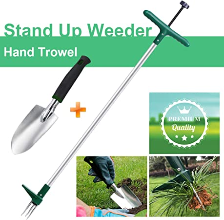 Stand up Manual Weeder Hand Tool with 3 Claws Stainless Steel and High Strength Foot Pedal Walensee Stand Up Weeder and Weed Puller Combo Pack - Stand Up Weeder /& Hand Trowel Weed Puller