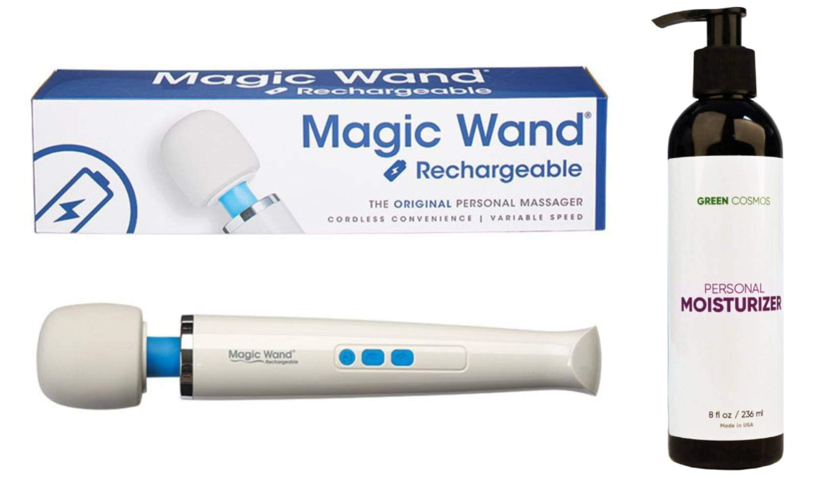 Magic Wand Rechargeable with Green Cosmos Personal Moisturizer - 8 oz