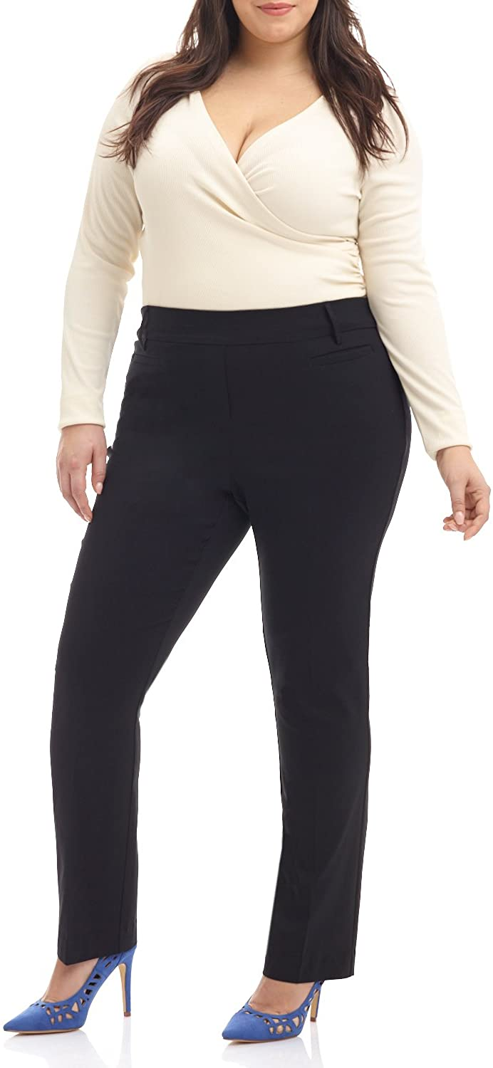 Rekucci Curvy Woman Ease into Comfort Plus Size Straight Pant w/Tummy Control