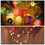 Ball LED String Lights Battery Powered Outdoor Indoor Decorative Lights Commercial String Lights, Patio Lights For Bedroom Home Garden Weeding Thanksgiving Christmas Decoration 20 LED Light-3m/9.8ft (Colorful)
