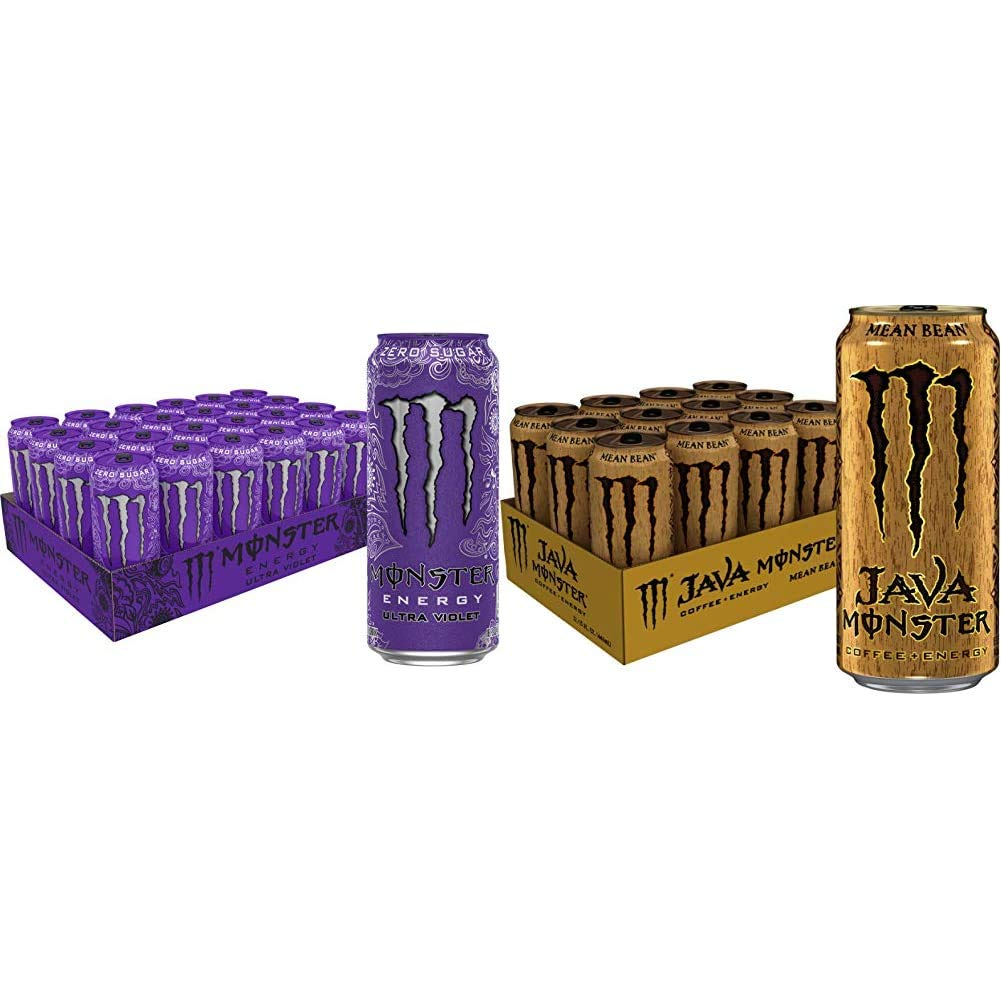 Monster Energy Ultra Violet, Sugar Free Energy Drink, 16 Ounce (Pack of 24) & Java Monster Mean Bean, Coffee + Energy Drink, 15 Ounce (Pack of 12)