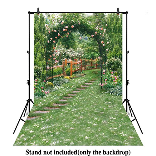 Allenjoy 6.5x10ft Spring Fresh Flower Green Yard garden path Photography Backdrop background For Wedding Events Party Photo Props bridal shower - Flower Path