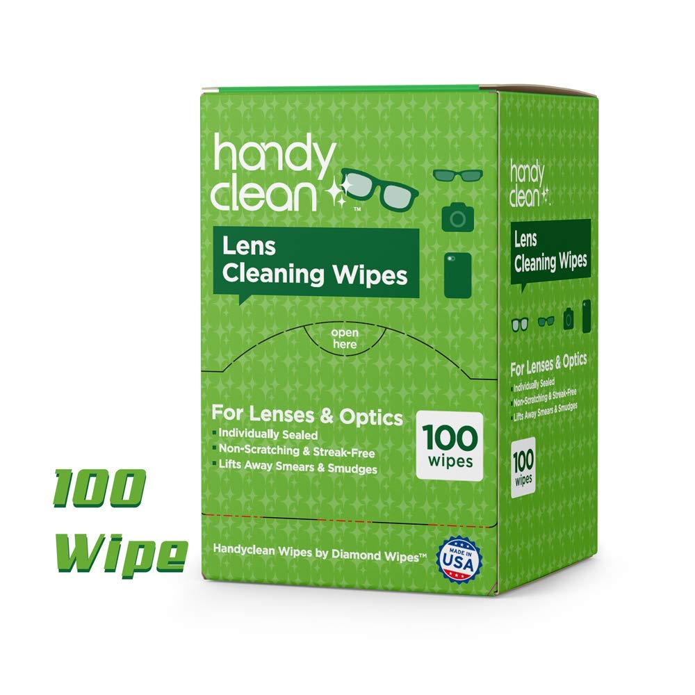Pre-moistened Lens and Glass Cleaning Wipes: for Glasses, Camera, Cell Phone, Smartphone, and Tablet – Safe for AR Lenses, Quick Drying, Streak Free, Disposable - Individually Wrapped - 100 Pack