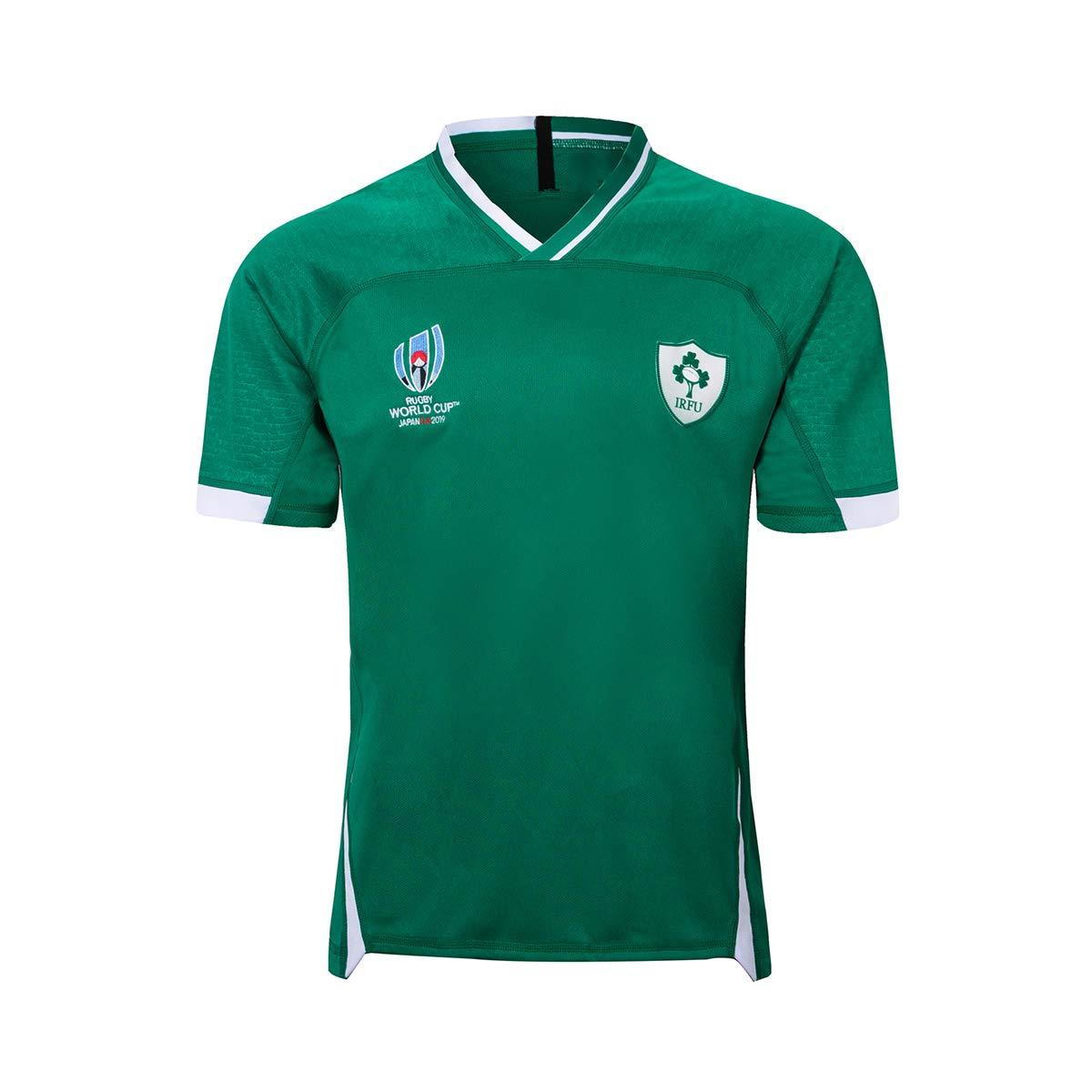 Qinsir T-Shirt Uomo Abbigliamento Rugby,Irlanda Supporters Jersey,Mondiali di Calcio Generico T-Shirt Tifosi Ultras Calcio Sport T-Shirt da Rugby da Uomo T-Shirt da Allenamento
