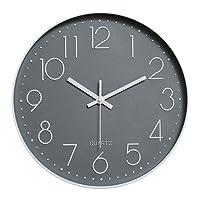 Dobess 12 Zoll Modern Quartz Lautlos Wanduhr Schleichende Sekunde ohne Ticken ( Grau )