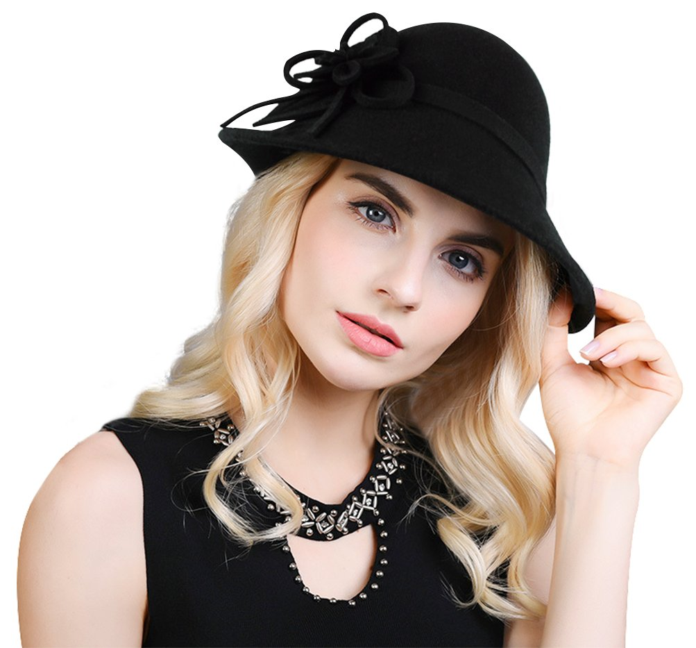 Bellady Women Solid Color Winter Hat 100% Wool Cloche Bucket with Bow Accent Black One Size ZXG00002846