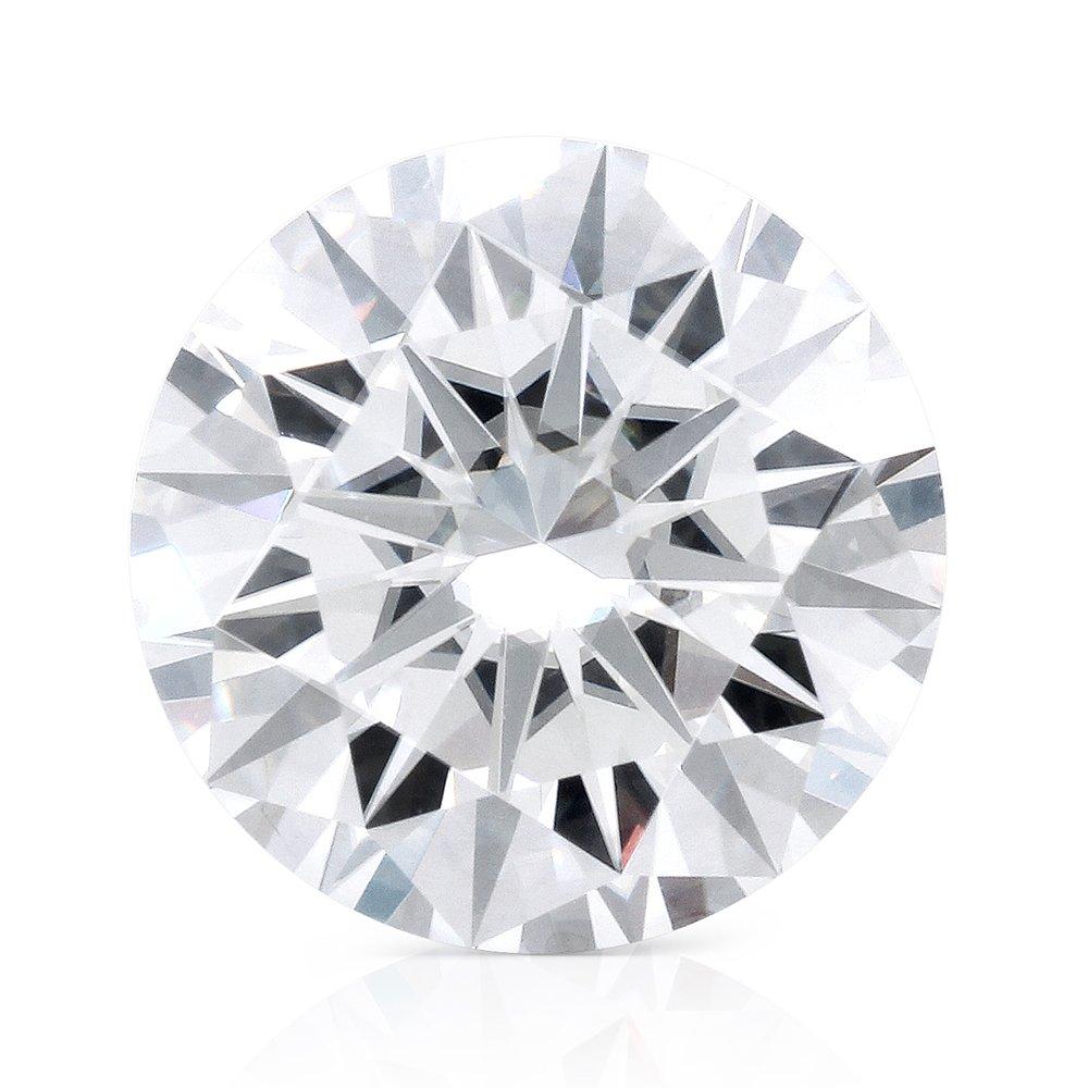 TransGems DF Colorless Moissanite Loose Stone, Round Brilliant Excellent Cut, VS1 Clarity (2 Carat)