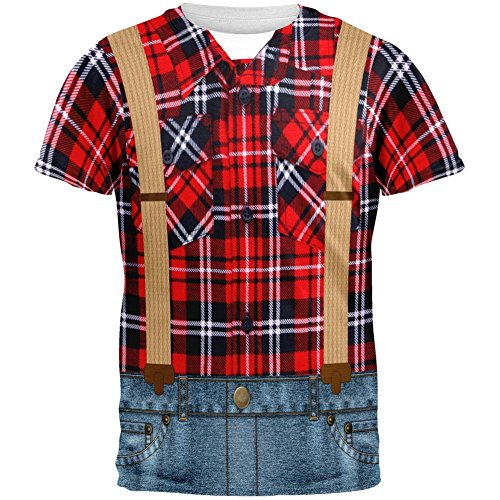 [Halloween Lumberjack Costume All Over Adult T-Shirt - Large] (Mens Lumberjack Costumes)