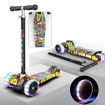 PIAOL Patinete Plegable Scooter Ajustables Monopatín Unisex Freestyle Ruedas Iluminadas con Luces LED Rodamientos De Bola