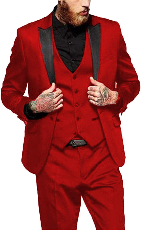 HUIBAOGONG Wedding Tuxedo Suit for Men Notch Lapel 3 Piece Groomsmen Blazers Business Prom Party Suits