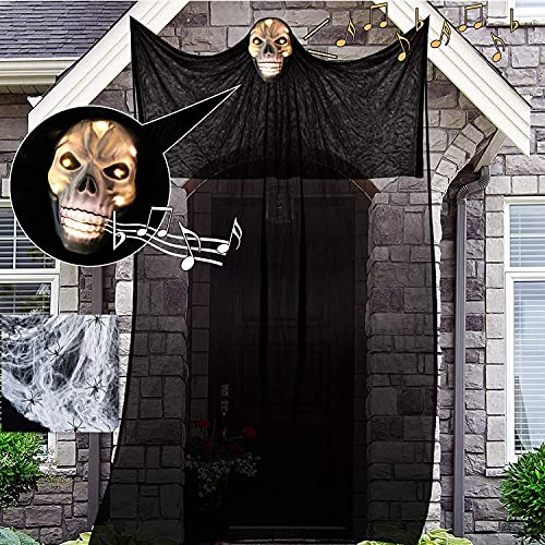 Halloween Decorations 13Ft Hanging Ghost, Ghost Lights with Sound-Controlled Lighting and Special Sound Effects, Collocation 20pcs Fake Spiders & 60g Stretch Cobwebs, Scary Creepy Indoor/Outdoor Decor