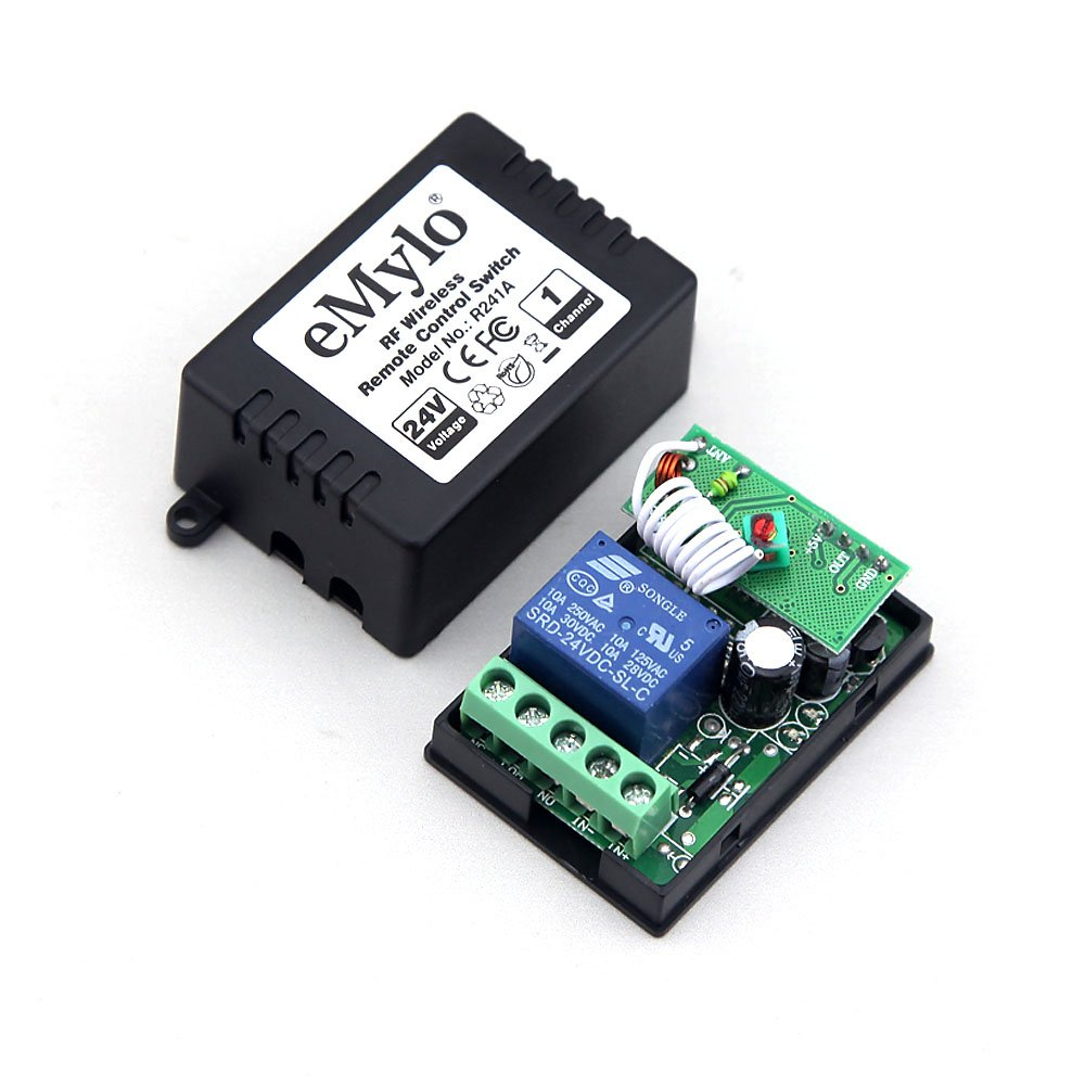 Emylo Dc 24v 1 Channel 433mhz Rf Relay Smart Learning Component Wireless Switch Circuit Remote Control What Do I Need 2pcs Transmitter With Receiver Home Audio Theater