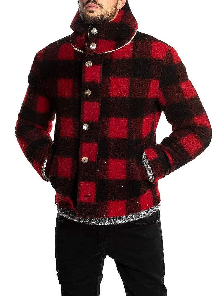 3b23ac4dd Enjoybuy Mens Winter Fleece Fur Lined Hooded Wool Jacket Full Zip Button Up  Warm Buffalo Plaid Coats