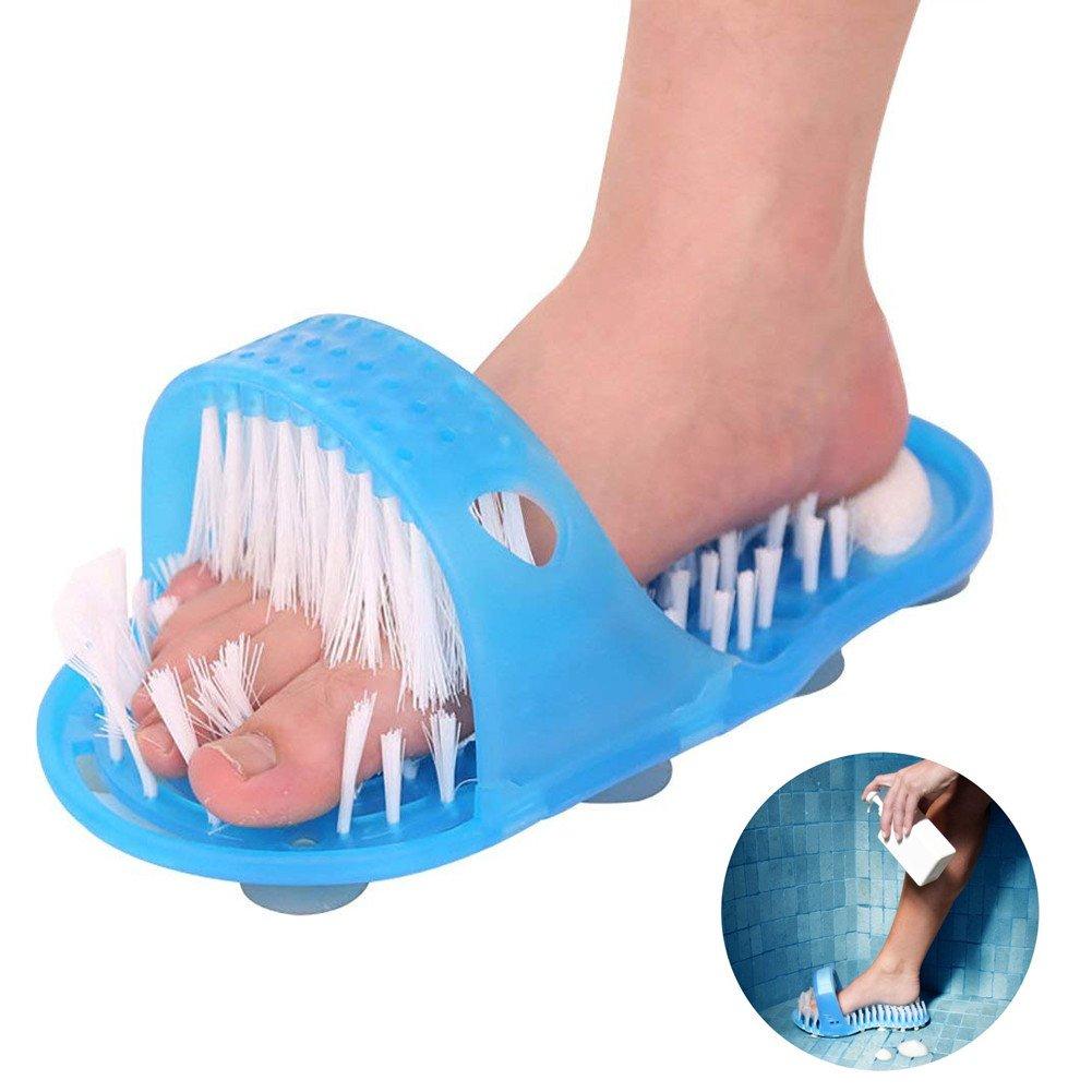 Ddfly Badezimmer Dusche Fuß Scrubber Feet Peeling Reiniger Borsten Slipper No Bending Fuß Massager Stick mit Saugnapf - 1 Pack