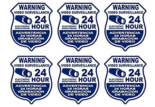 6 Pc Amazing Unique Warning Video Surveillance 24 Hour Electronic Monitoring Security Sticker Sign Property Protected Door Reflective Under Cameras Protect Post Trespassing Signs Size 4'x3.5' Spanish