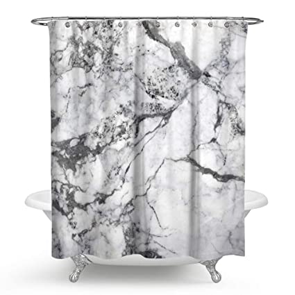 Huakz Marble Texture Shower Curtain Classic Modern Bathroom Decor Polyester Fabric White And Grey Bath