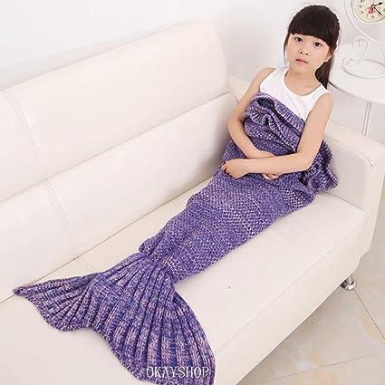Kids crochet sirena cola manta, okayshop para tejer saco de dormir de artesanía para las