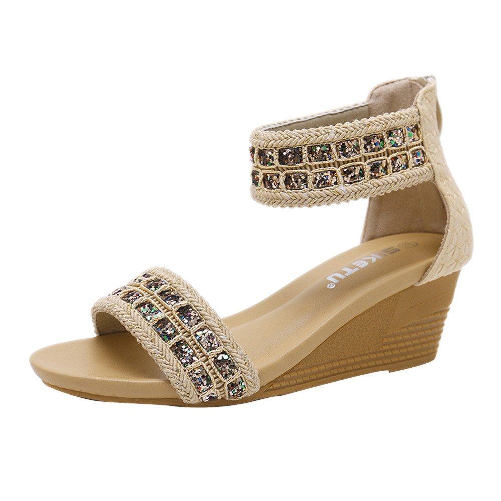 Chaussures Femme,Mode Femmes Sandales Eté Bohême Chaussures Compensées Paillettes Sandales À Talons Moyens,Derbies