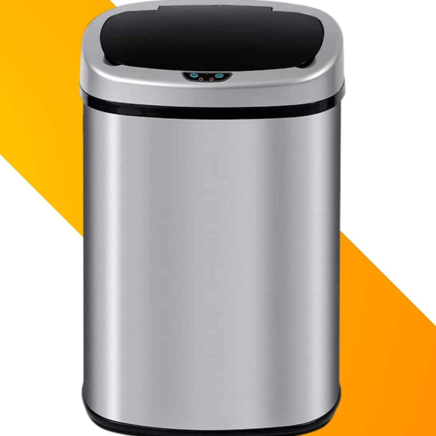13 Gallon Stainless Steel Touchless Trash Can Automatic Sensor Garbage Trash Bin For Kitchen Bathroom Bedroom With Lid Oval Shape Office Waste Bin Brushed Powered By Batteries Not Included Home