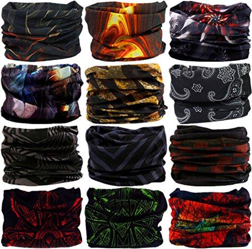 VANCROWN Headband Head Wrap Headwear Sport Sweatband 280 Patterns 12 in 1 Magic Scarf 12PCS 9PCS & 6PCS
