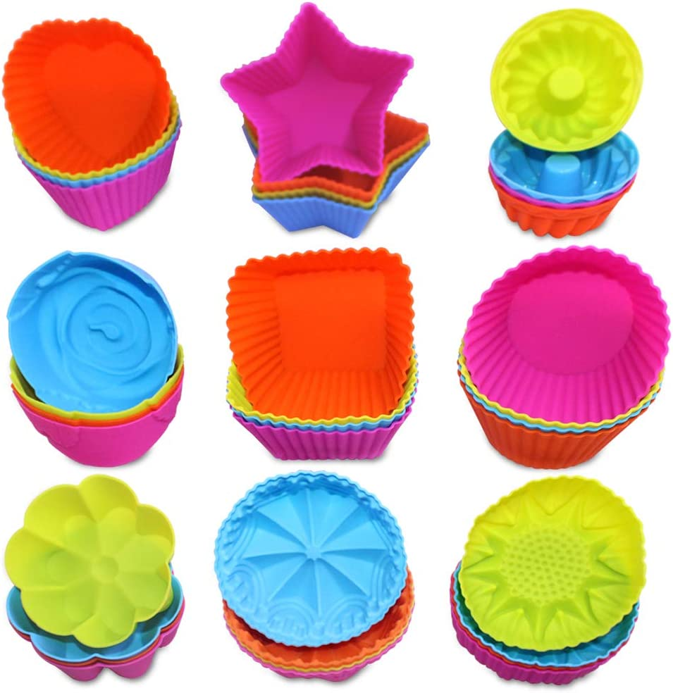36 Pcs Silicone Cupcake Baking Cups, AIFUDA Reusable Mini Cake Cups Liners Mold Nonstick Muffin Donut Pan, 9 Shapes