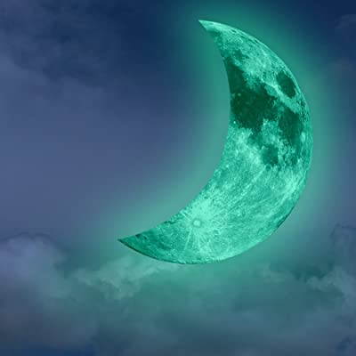AENMIL Unique Luminous Green Crescent Moon Wall Stickers, Removable Home Art Decor Fluorescent Glow in The Dark Wallpaper for Kids Boys Girls Bedroom Ceiling Windows: Toys & Games