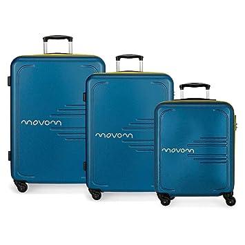 MOVOM Flash Juego de Maletas, 79 cm, 242 litros, Azul: Amazon.es: Equipaje
