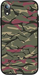 Okteq Case for iPhone XR Shock Absorbing PC TPU Full Body Drop Protection Cover matte printed - green Camouflage By Okteq