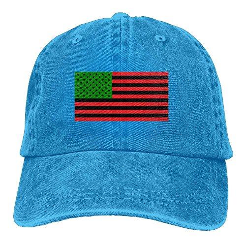 Gorras béisbol Unisex African American Flag Red Black and Green Dyed Washed Denim Cotton Baseball Cap Hat Black