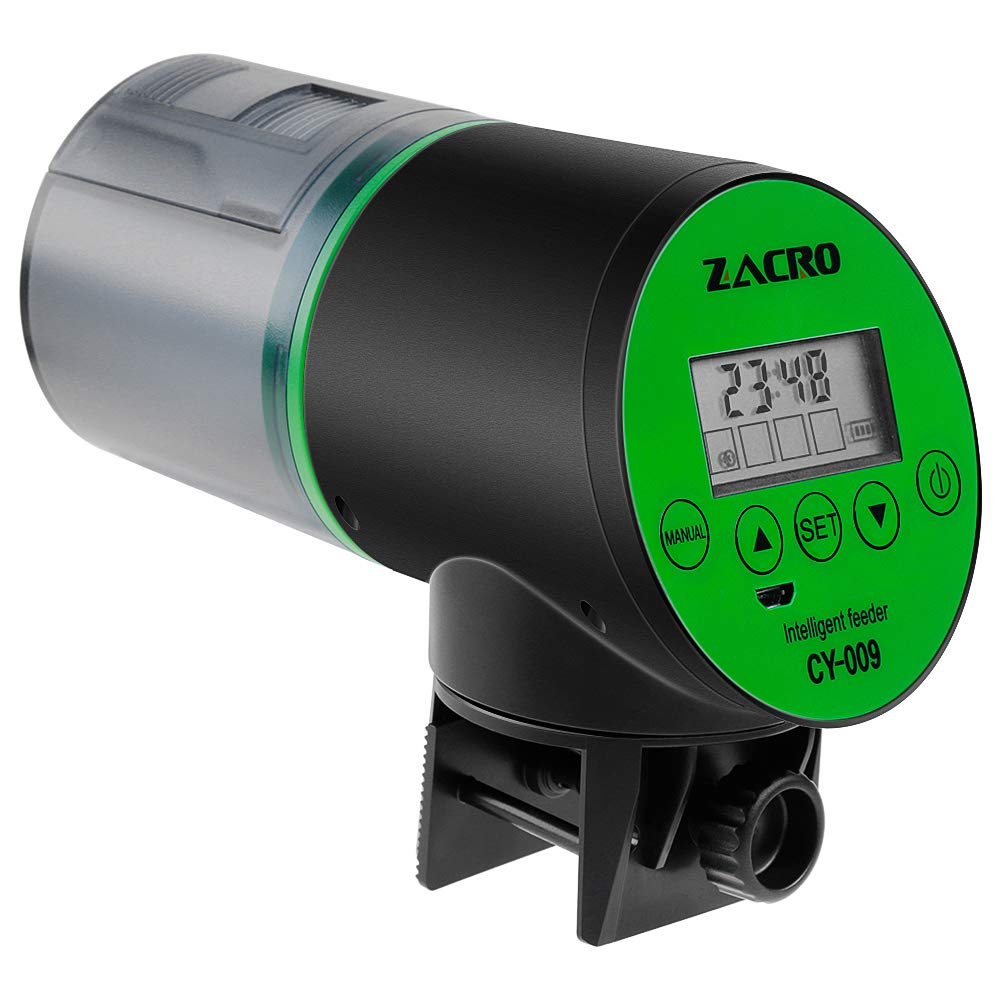 Zacro Automatic Fish Feeder - Rechargeable Timer Fish Feeder with USB Charger Cable, Fish Food Dispenser for Aquarium or Fish Tank by Zacro