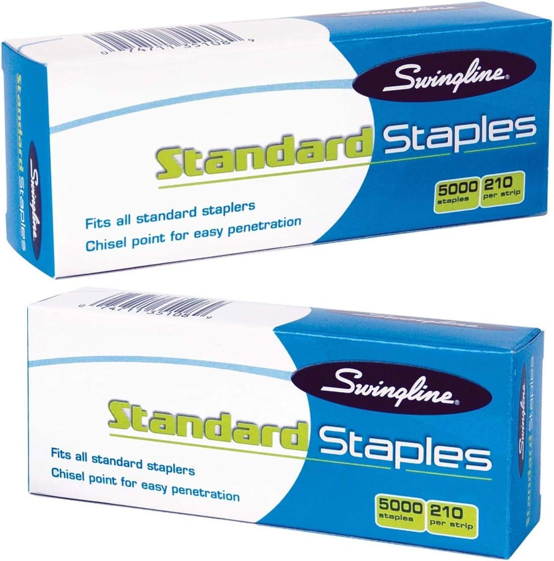 Swingline S.F. 1 Standard Economy Chisel Point 210 Full Strip Staples - 5,000 per Box (Pack of 2)